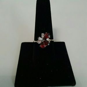 Jewelry - Red Proustite 18K Gold Plated Ring Size 8.5